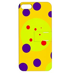 Yellow and purple dots Apple iPhone 5 Hardshell Case with Stand