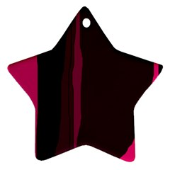 Pink And Black Lines Ornament (star)  by Valentinaart