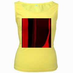 Pink and black lines Women s Yellow Tank Top by Valentinaart