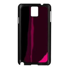 Pink And Black Lines Samsung Galaxy Note 3 N9005 Case (black) by Valentinaart