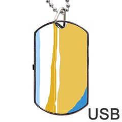 Blue And Yellow Lines Dog Tag Usb Flash (one Side) by Valentinaart