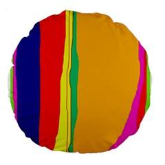 Colorful lines Large 18  Premium Round Cushions