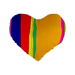 Colorful Lines Standard 16  Premium Flano Heart Shape Cushions by Valentinaart