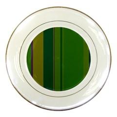 Green Elegant Lines Porcelain Plates by Valentinaart
