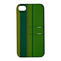 Green Elegant Lines Apple Iphone 4/4s Hardshell Case With Stand by Valentinaart