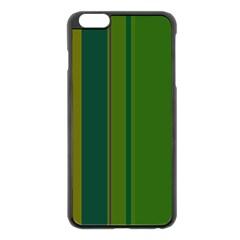 Green elegant lines Apple iPhone 6 Plus/6S Plus Black Enamel Case by Valentinaart