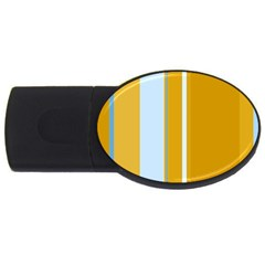 Yellow Elegant Lines Usb Flash Drive Oval (4 Gb)  by Valentinaart