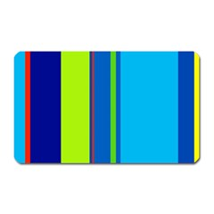 Blue And Green Lines Magnet (rectangular) by Valentinaart