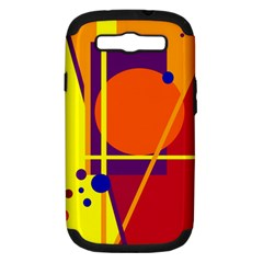 Orange Abstract Design Samsung Galaxy S Iii Hardshell Case (pc+silicone) by Valentinaart