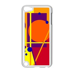 Orange abstract design Apple iPod Touch 5 Case (White) by Valentinaart