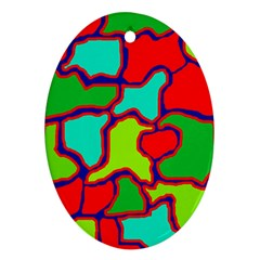 Colorful abstract design Oval Ornament (Two Sides)
