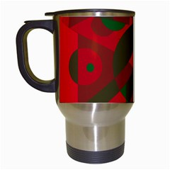 Red And Green Abstract Design Travel Mugs (white) by Valentinaart