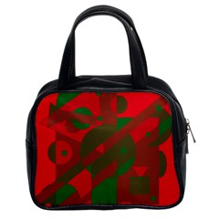 Red And Green Abstract Design Classic Handbags (2 Sides) by Valentinaart