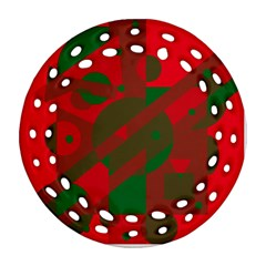 Red and green abstract design Ornament (Round Filigree)  by Valentinaart