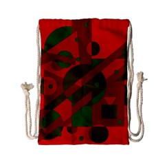 Red And Green Abstract Design Drawstring Bag (small) by Valentinaart