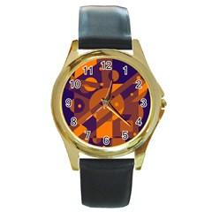 Blue And Orange Abstract Design Round Gold Metal Watch by Valentinaart