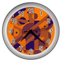 Orange And Blue Abstract Design Wall Clocks (silver)  by Valentinaart