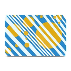 Blue, yellow and white lines and circles Plate Mats