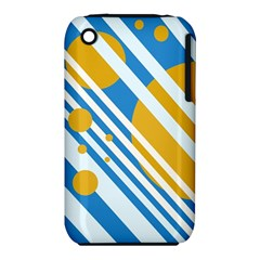Blue, Yellow And White Lines And Circles Apple Iphone 3g/3gs Hardshell Case (pc+silicone) by Valentinaart