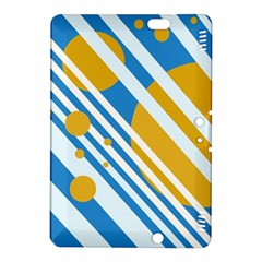 Blue, Yellow And White Lines And Circles Kindle Fire Hdx 8 9  Hardshell Case by Valentinaart