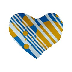 Blue, yellow and white lines and circles Standard 16  Premium Flano Heart Shape Cushions by Valentinaart