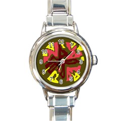 Abstract design Round Italian Charm Watch by Valentinaart