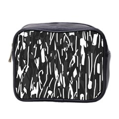 Black And White Elegant Pattern Mini Toiletries Bag 2 Side by Valentinaart