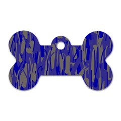 Plue Decorative Pattern  Dog Tag Bone (two Sides) by Valentinaart