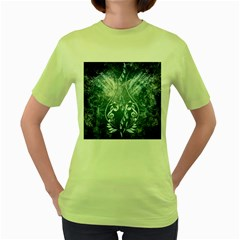 Music, Decorative Clef With Floral Elements In Blue Colors Women s Green T Shirt by FantasyWorld7