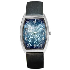 Music, Decorative Clef With Floral Elements In Blue Colors Barrel Style Metal Watch by FantasyWorld7