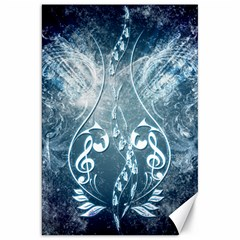 Music, Decorative Clef With Floral Elements In Blue Colors Canvas 20  X 30   by FantasyWorld7