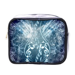 Music, Decorative Clef With Floral Elements In Blue Colors Mini Toiletries Bags by FantasyWorld7