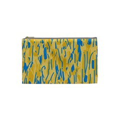 Yellow And Blue Pattern Cosmetic Bag (small)  by Valentinaart