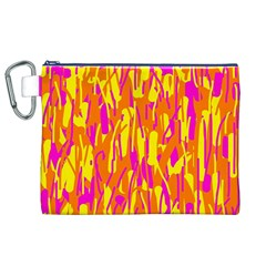 Pink And Yellow Pattern Canvas Cosmetic Bag (xl) by Valentinaart