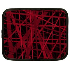 Black And Red Pattern Netbook Case (large) by Valentinaart