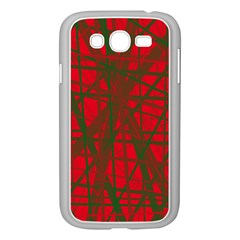 Red Pattern Samsung Galaxy Grand Duos I9082 Case (white) by Valentinaart