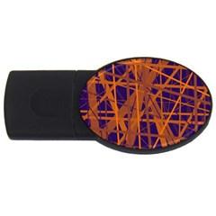 Blue And Orange Pattern Usb Flash Drive Oval (2 Gb)  by Valentinaart