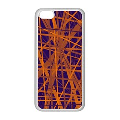 Blue And Orange Pattern Apple Iphone 5c Seamless Case (white) by Valentinaart