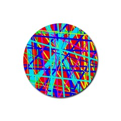 Colorful Pattern Rubber Coaster (round)  by Valentinaart