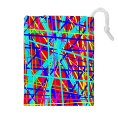 Colorful pattern Drawstring Pouches (Extra Large) by Valentinaart