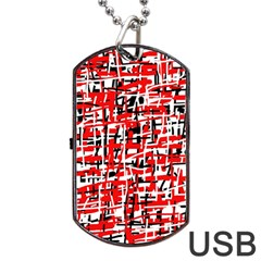 Red, White And Black Pattern Dog Tag Usb Flash (one Side) by Valentinaart