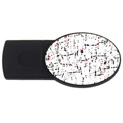 Red, White And Black Pattern Usb Flash Drive Oval (4 Gb)  by Valentinaart