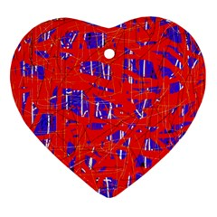 Blue And Red Pattern Heart Ornament (2 Sides) by Valentinaart
