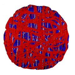 Blue And Red Pattern Large 18  Premium Flano Round Cushions by Valentinaart