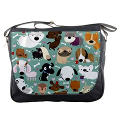 Dog Pattern Messenger Bags by Mjdaluz