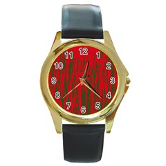 Red And Green Pattern Round Gold Metal Watch by Valentinaart