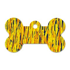 Yellow Pattern Dog Tag Bone (two Sides) by Valentinaart