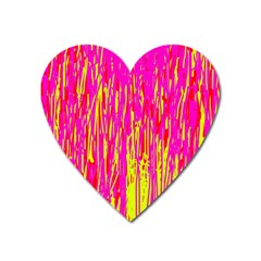 Pink And Yellow Pattern Heart Magnet by Valentinaart