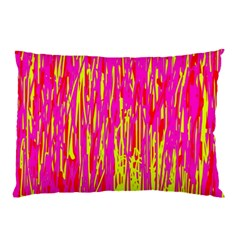 Pink And Yellow Pattern Pillow Case by Valentinaart
