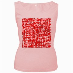 Red decorative pattern Women s Pink Tank Top by Valentinaart
